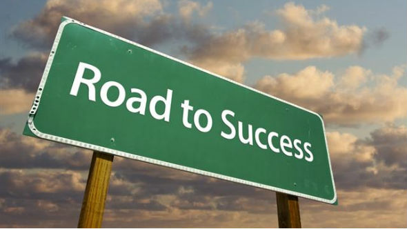 sign for the road to success